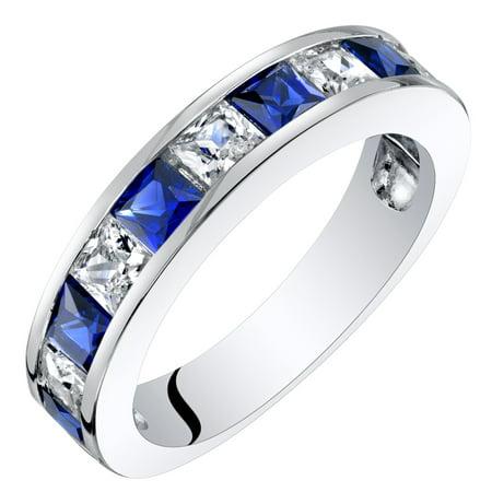 Sterling Silver Princess Cut Created Sapphire Half Eternity Wedding Ring Band Princess Blue Sapphire Ring
