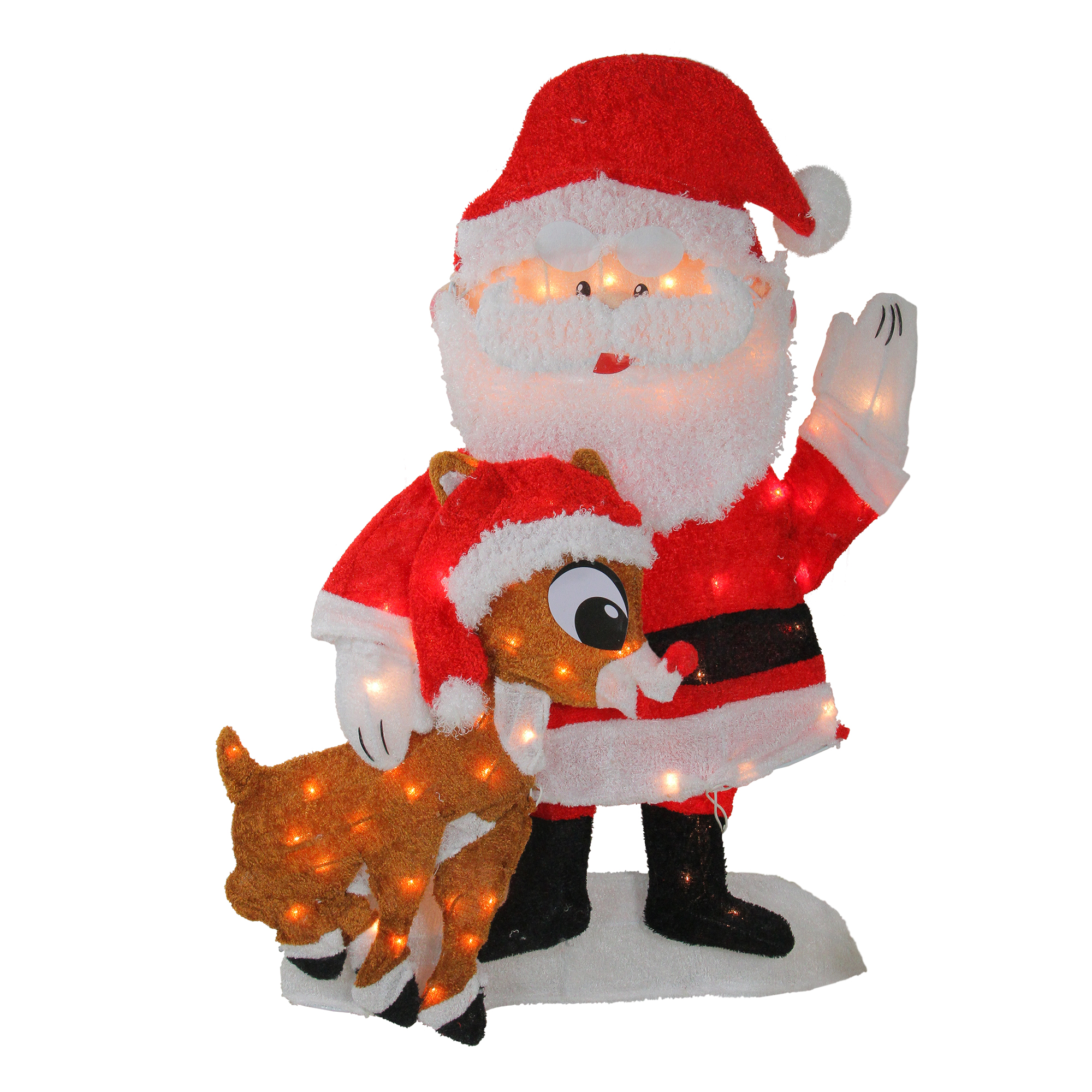 Northlight Waving Santa Claus and Rudolph Light Display