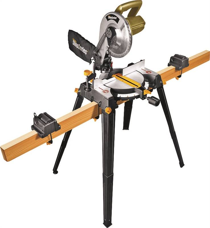 Rockwell Shop RK7136.1 Compound Corded Miter Saw with Leg Stands, 120 VAC, 14 A, 5200 rpm