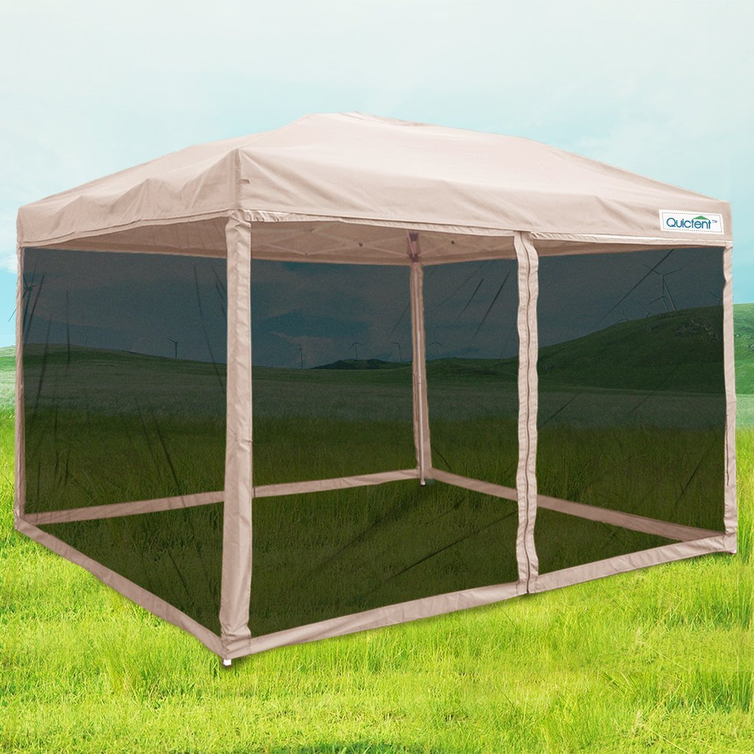 Quictent Ez Pop up Canopy with Netting Screen House Instant Gazebo Party Tent Mesh Sides Walls With Carry BAG Tan-4 Sizes