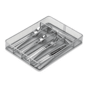 Honey Can Do 5-Compartment Mesh Cutlery Tray, Silver