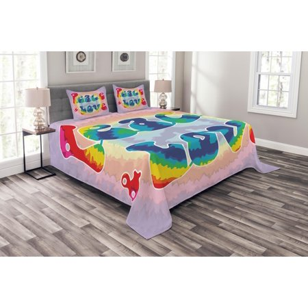 Groovy Bedspread Set, Peace and Love Text in Tie Dye Effect Pattern Energetic Youthful Fun 60s 70s Hippie, Decorative Quilted Coverlet Set with Pillow Shams Included, Multicolor, by Ambesonne (60s Tie)