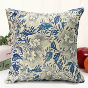 Vintage Oriental Blue Floral Decorative Throw Pillow Case Cushion Cover 18x18 inch Square Zipper Waist Pillowcase Pillow Protector Slip Cases Sham for Couch Sofa
