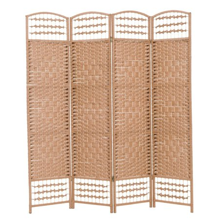 THY COLLECTIBLES Decorative Freestanding Woven Bamboo 4 Panels Hinged Privacy Panel Screen Portable Folding Room Divider (Darkmocha) (Best Bamboo For Privacy Wall)