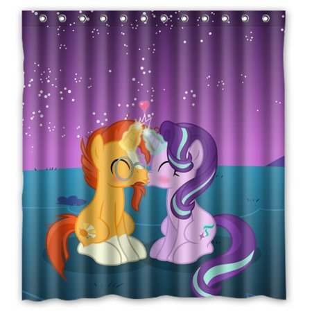 DEYOU My Little Pony Kiss Lovers Design Shower Curtain Polyester Fabric Bathroom Size 60x72
