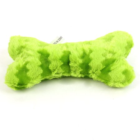 Unique Bargains Apple Green Plush Stripes Pattern Bone Shape Squeaky Toy for Pet Dog - Apple Toys
