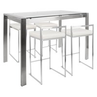 Fuji 5-Piece Contemporary Counter Height Dining Set in Stainless Steel and White by LumiSource
