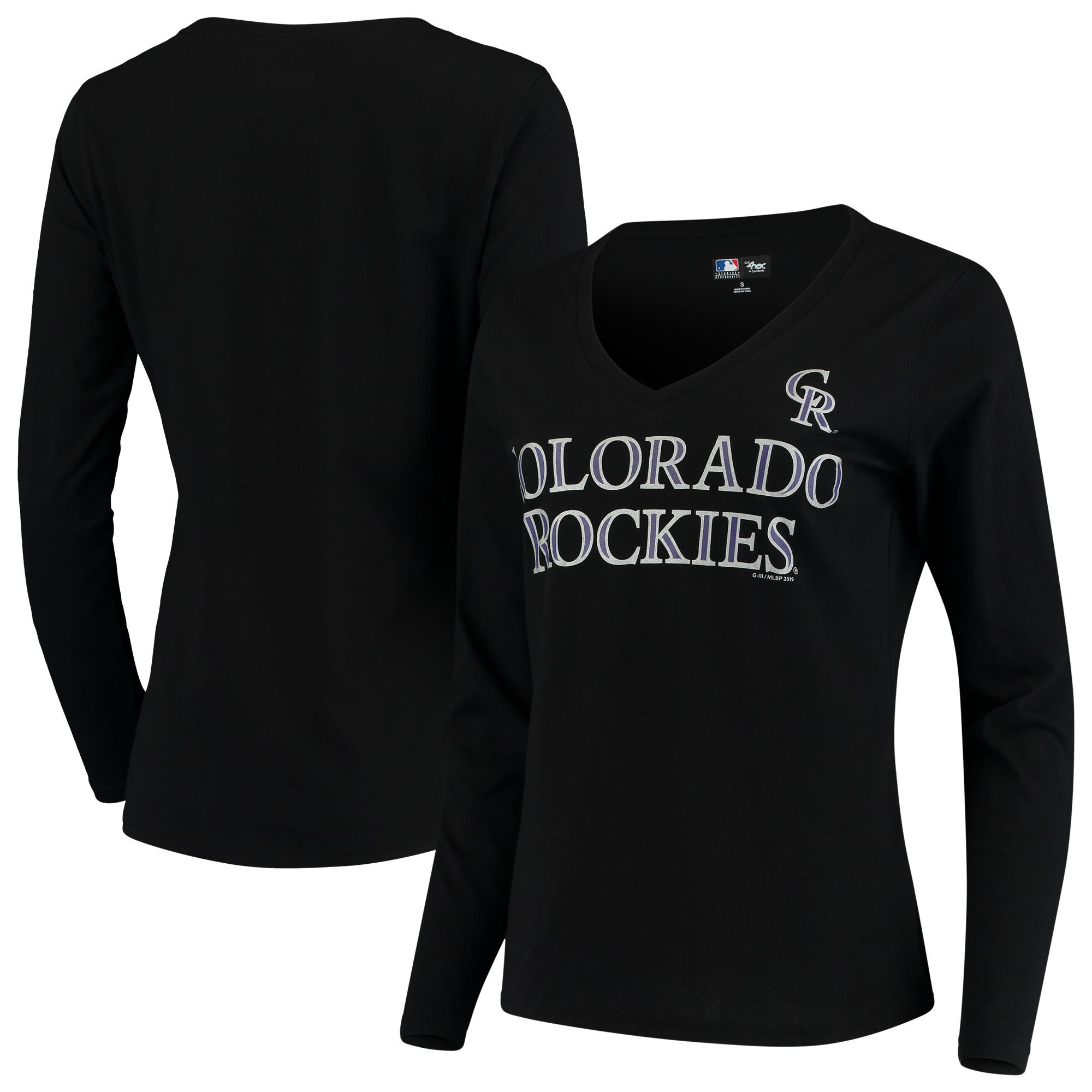 Colorado Rockies G-III 4Her by Carl Banks Women's Post Season Long Sleeve T-Shirt - Black