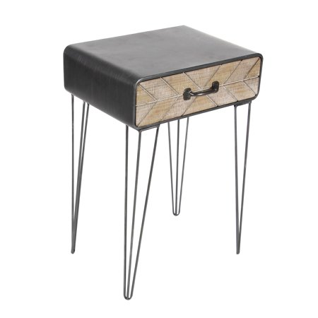 Decmode 26 X 17 Inch Modern Iron and Wood End Table With Chevron Patterned Drawer, Black (Chevron Table)