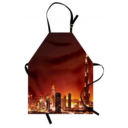 Landscape Apron Arabic Dubai Downtown with Cityscape Skyscrapers Sunset Middle East City Photo, Unisex Kitchen Bib Apron with Adjustable Neck for Cooking Baking Gardening, Multicolor, by Ambesonne