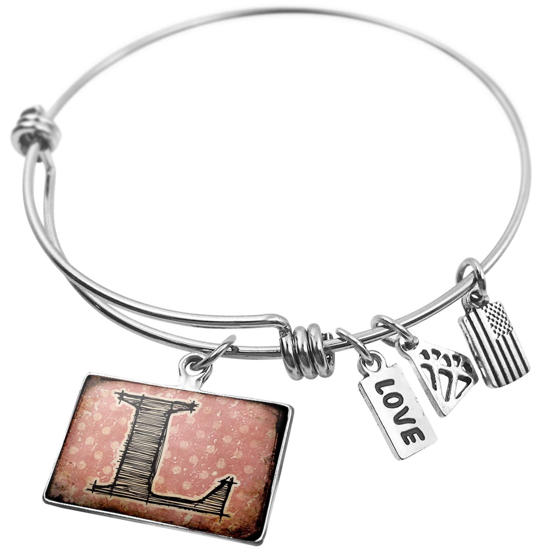 Expandable Wire Bangle Bracelet L Vintage characters, letter old rose - NEONBLOND