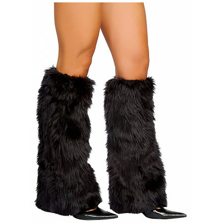 Fur Leg Warmers Adult Costume Accessory Black - Fur Leg Warmers Costume