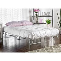 Furniture of America Polosa Contemporary Metal Full Bed Frame in Silver