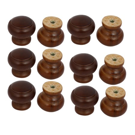 Unique Bargains Cabinet Drawer Single Hole Wooden Pull Knobs Handles Red Brown 26mmx25mm 12pcs