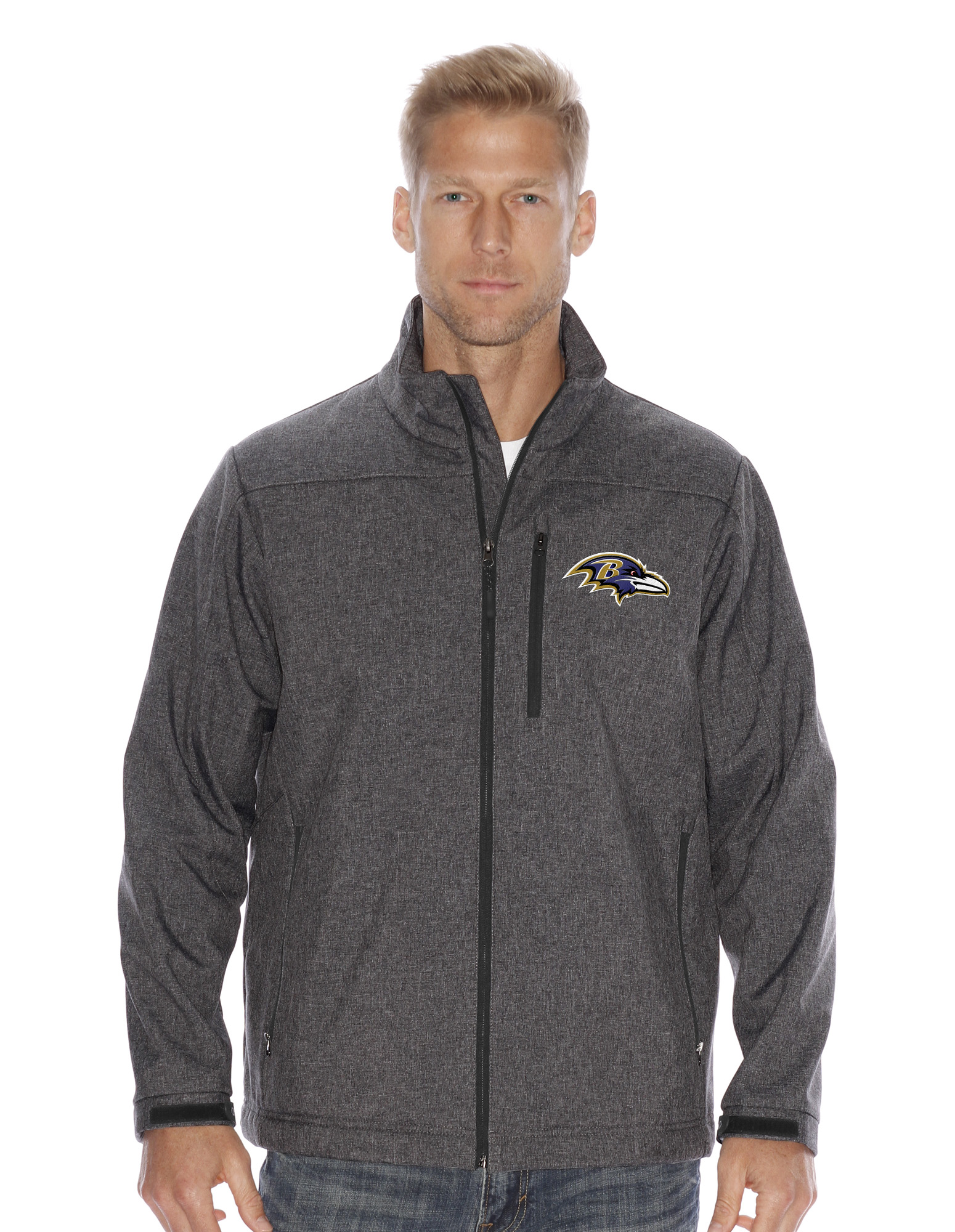 """Baltimore Ravens NFL """"Spike"""" Full Zip Premium Soft Shell Jacket Charcoal by G-III Sports"""