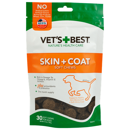 Vet's Best Skin & Coat Dog Supplements | Formulated with Vitamin E and Biotin to Maintain Dogs Healthy Skin and Coat | 50 Chewable (Best Pct Supplement On The Market)