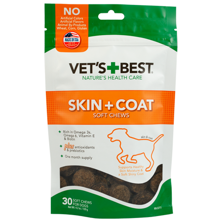 Vet's Best Skin & Coat Dog Supplements | Formulated with Vitamin E and Biotin to Maintain Dogs Healthy Skin and Coat | 50 Chewable