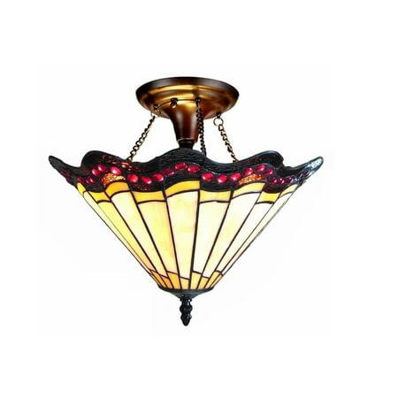 Chloe Lighting Tiffany Style Mission Design 2-light Antique Bronze Semi Flush Mount