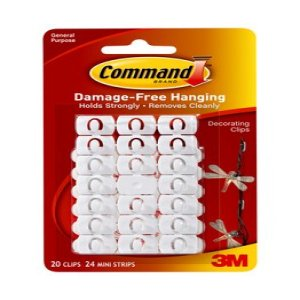 Command Decorating Clips, White, 20 Clips, 24 Strips/Pack - Walmart.com