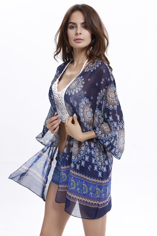 Womens Floral Print Swim Wear Beach Bikini Cover Up Dress Kaftan Kimono Shirt Dress