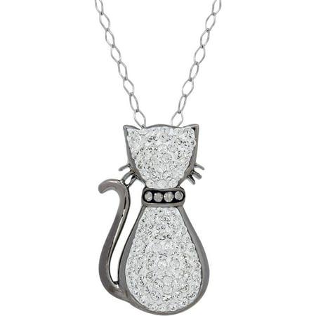 Swarovski Element Sterling Silver White Cat Pendant, 18