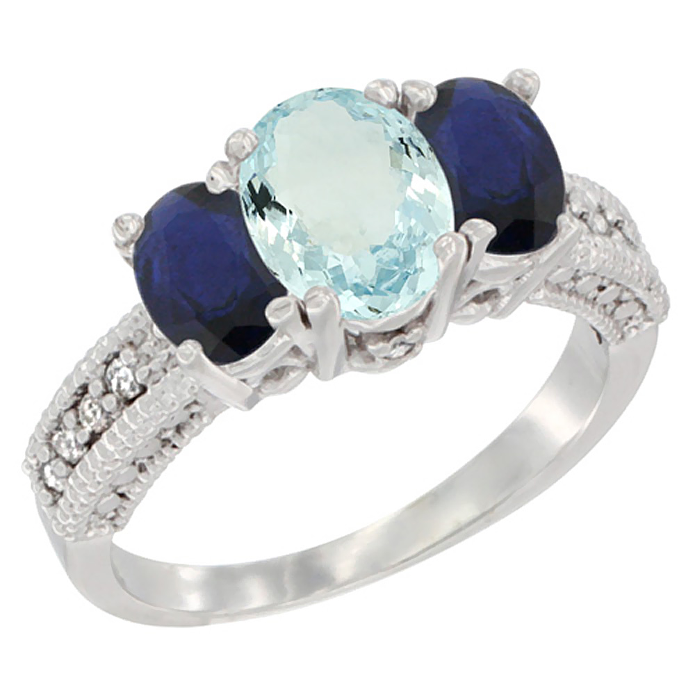 14K White Gold Diamond Natural Aquamarine Ring Oval 3-stone with HQ Blue Sapphire, size 5 by Gabriella Gold