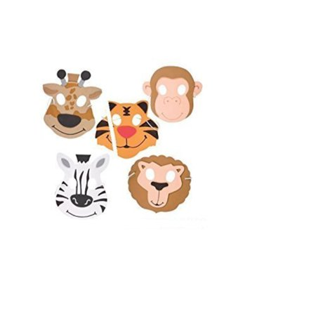 (24) Assorted Zoo Animals Foam Masks ~ Fun 7.5'' Zoo Animals Party Favor Masks ~ Great Halloween Birthday School Fair Prize Giveaway ~ Assorted Lion Tiger Zebra Monkey Giraffe ~ JUNGLE ~ 24 New ~ 5+ - Good Halloween Game Prizes