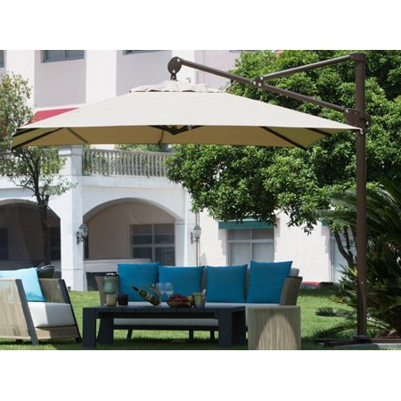 Abba Patio Rectangular Cantilever Umbrella with Cross Base and Storage Cover, 10 Feet, Tan ()