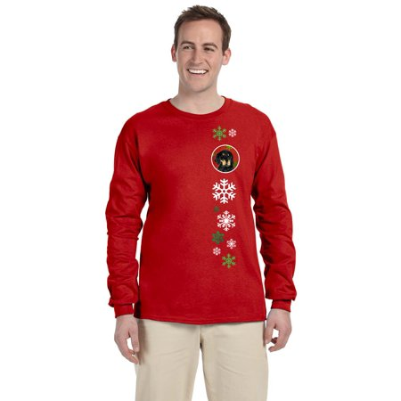 Carolines Treasures SS4722-LS-RED-M Gordon Setter Red Green Snowflakes Christmas Long Sleeve Red Unisex Tshirt - Adult Medium ()