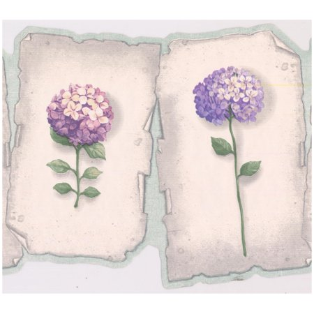 Prepasted Wallpaper Border Purple Blue Hydrangea Hortensia Flowers On Plaques Scalloped Wall Border Retro Design Roll 15 Ft X 9 In
