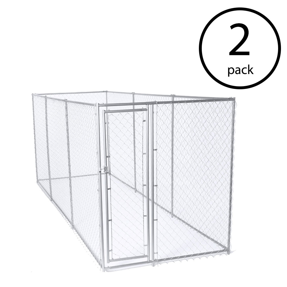 Lucky Dog 10 x 10 Foot Heavy Duty Outdoor Chain Link Dog Kennel w/ Door (2 Pack)