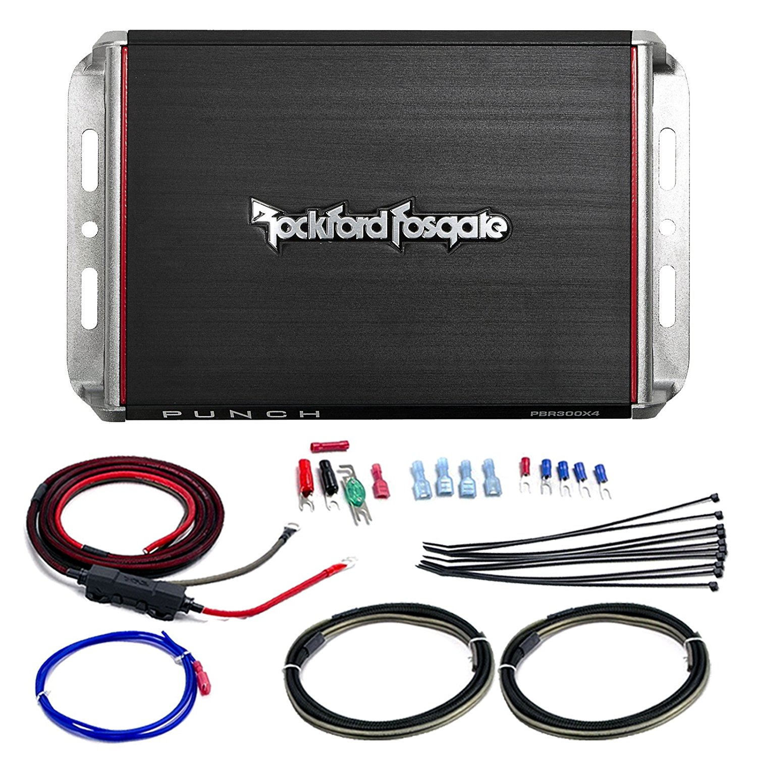 Marine Amp Bundle: Rockford Fosgate PBR300X4 Punch 300-Watt 4-Channel Boosted Rail Compact Amplifier Combo With Scosche 10-AWG OFC Moto Amp Power Installation Kit (4 Channel)