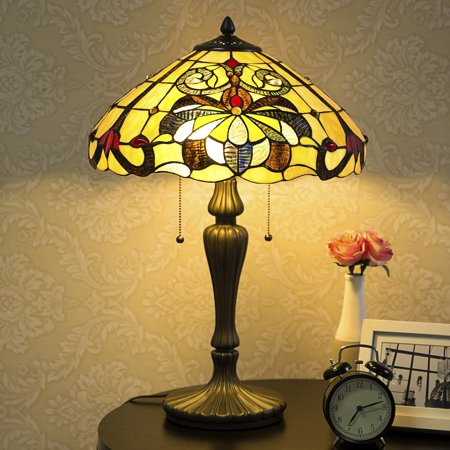 Stained Glass Table Lamp (Cloud Mountain Victorian Floral Stained Glass Table)