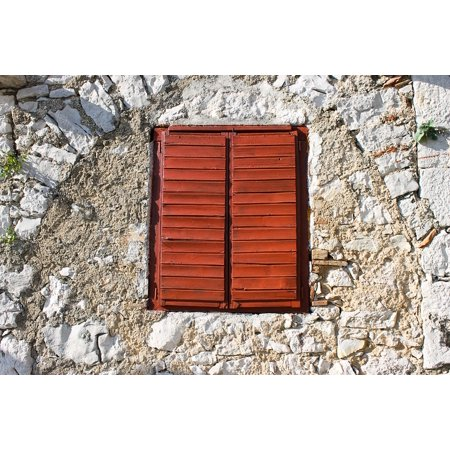 Laminated Poster Window Shutters Window Bars Closed Wooden Windows Poster Print 11 x