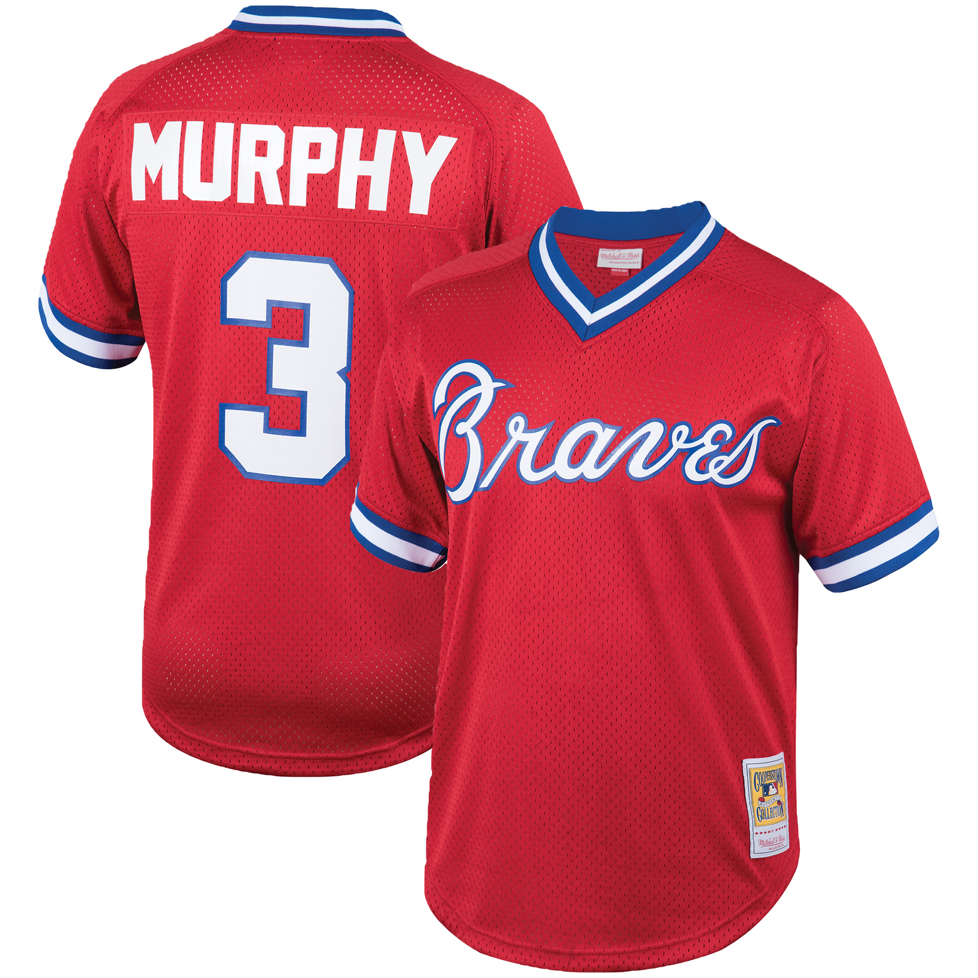 Dale Murphy Atlanta Braves Mitchell & Ness Cooperstown Collection Mesh Batting Practice Jersey - Red