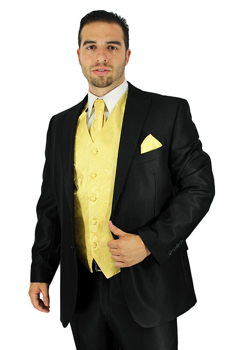 Enimay Men's Combo Pack 3pc Set Paisley Vest Tie Hankerchief Prom Wedding Formal Yellow Size L