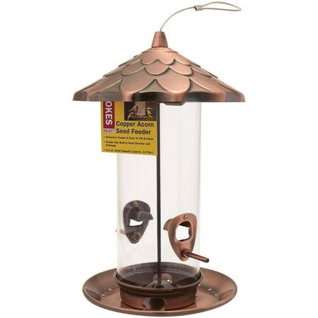 Stokes select brushed copper acorn seed bird feeder 2 lb for Acorn feeder