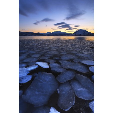 A rare sight in Tjeldsundet Troms County Norway Ice flakes drifting in the sunset looking towards the mountains on Tjeldoya Island Poster Print