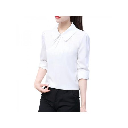 Topumt Womens Long Sleeve Blouse Loose Tops Ladies Button Down Office Work Formal OL T (Womens Formal Shirts)
