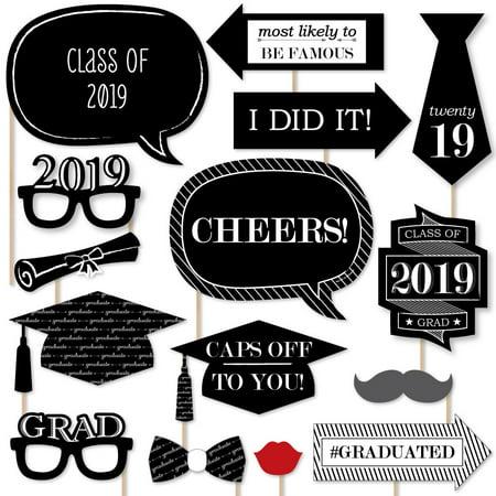 Graduation Cheers - 2019 Graduation Photo Booth Props Kit - 20 Count - Photo Booth Props Graduation