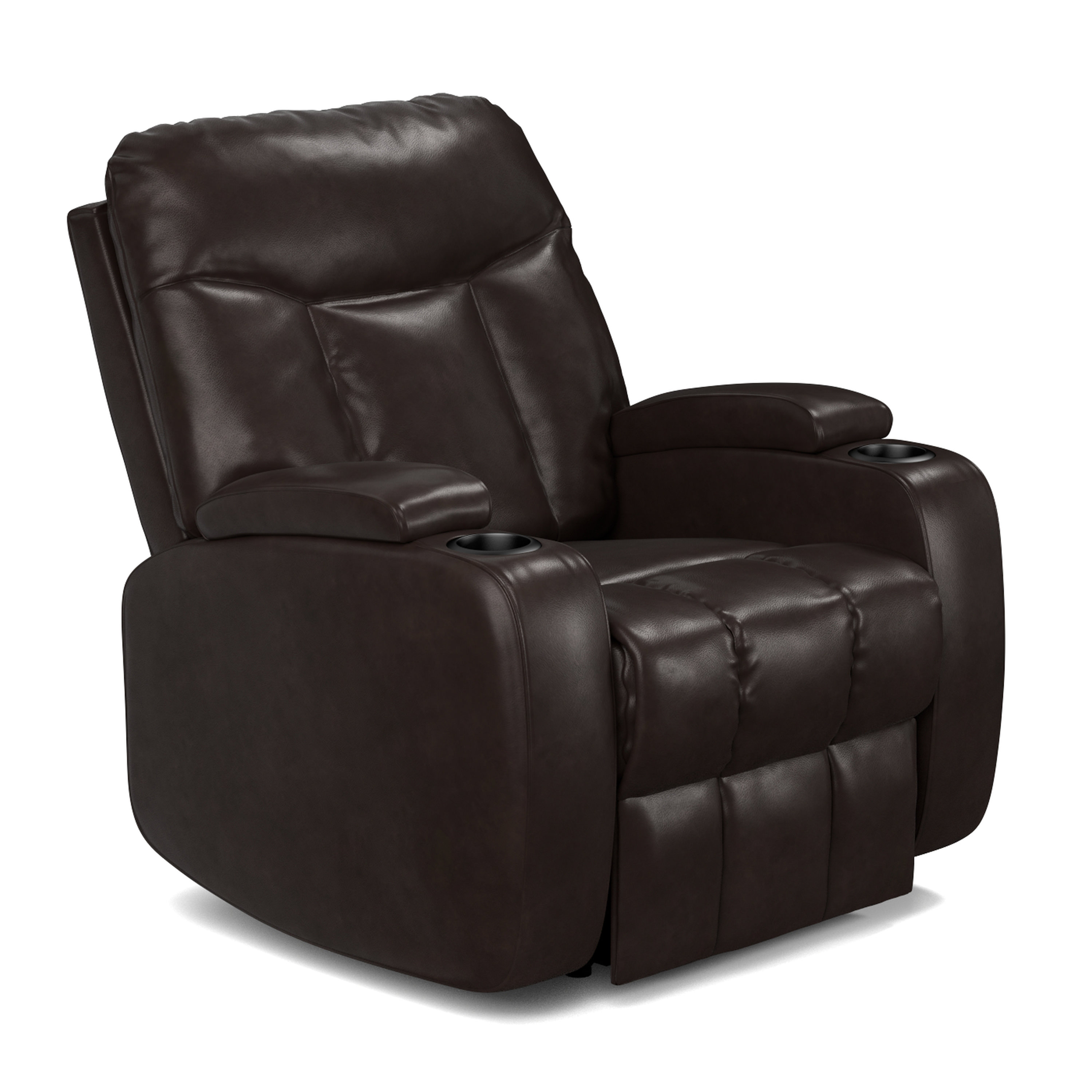 Alton Wall Hugger Storage Recliner Power Chair in Coffee Brown Renu Leather