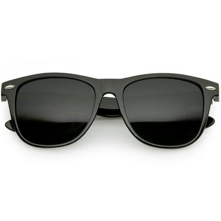 Classic Horn Rimmed Sunglasses Wide Arms Super Dark Square Lens 54mm (Shiny Black / (Super Classic Sunglasses)