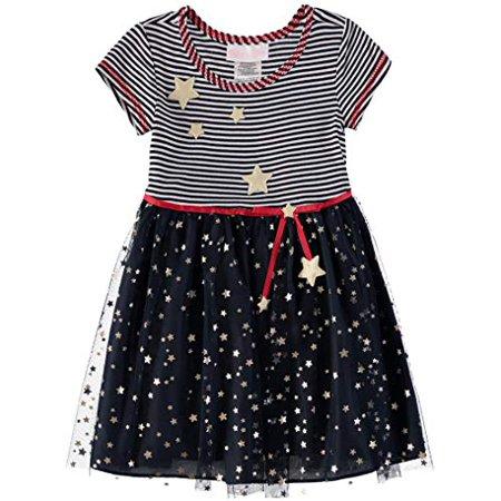 Bonnie Baby Baby Girls Americana Dress, Foil Star, 12 (Americana Tin)