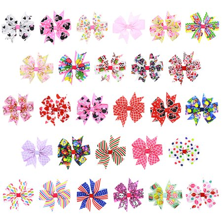 Coxeer 28Pcs Girls Hair Clips Handmade Printed Bow Tie Stylish Hairpin Hair Accessories for Kids - Print Clip