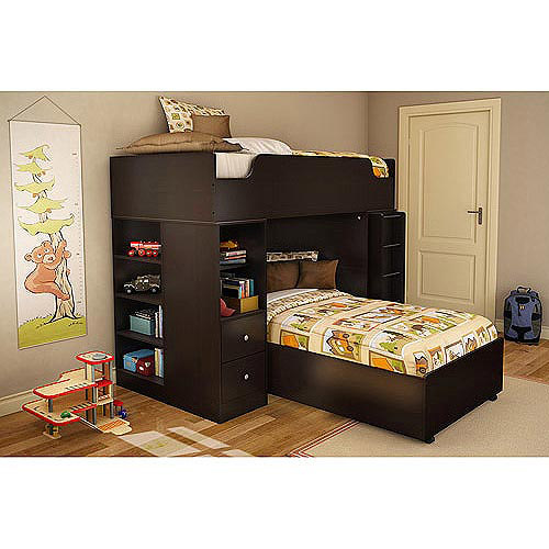 South Shore Logik Collection Loft Bunk Bed, Chocolate