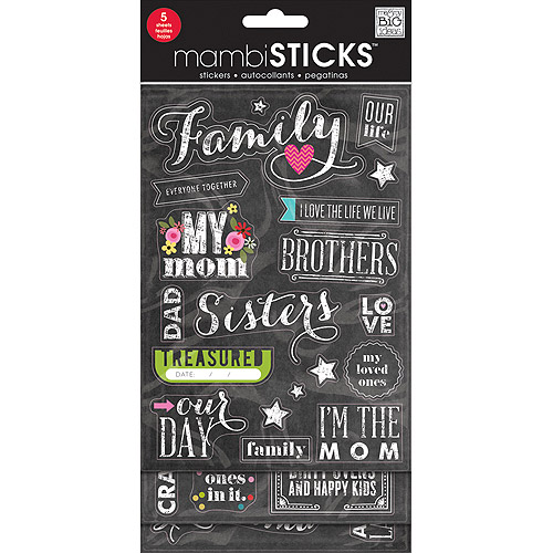 Glitter Stickers Value Pack, Chalk - Family