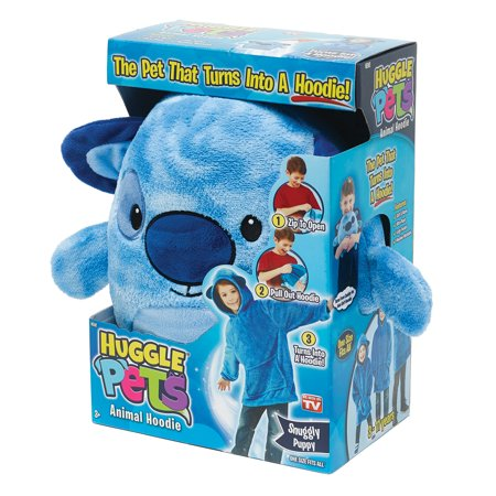 Huggle Pets Blue Puppy Animal Hoodie Sweatshirt and Plush Toy, As Seen on TV