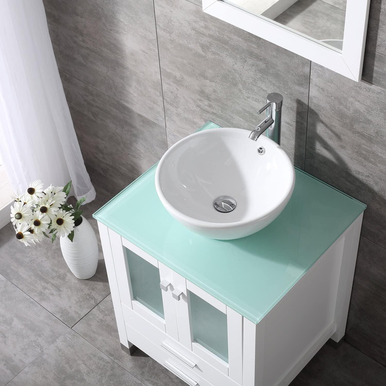 Wonline 24 White Bathroom Vanity And Sink Combo Wood Cabinet Top Round Ceramic Vessel Sink Faucet Drain Combo With Mirror Vanities Set