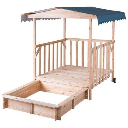 GHP Natural Fir Wood & Polyester Kids Beach Backyard Sand Box with Canvas Canopy