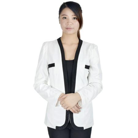 Lined Silk Blazer - Ladies Slim Women's Suit Coat Blazer Jacket Hook Button, White, L